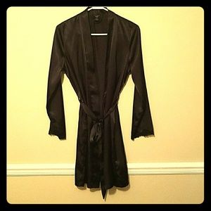 Black robe with lace sleeve trim size small
